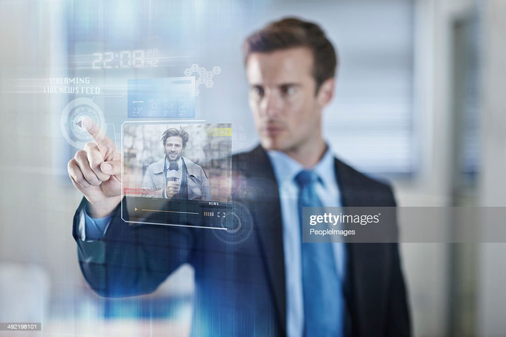 Media at a simple touch : Stock Photo