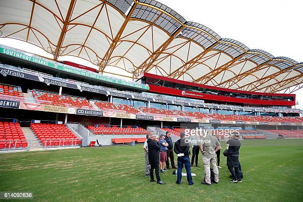 Media attend a a venue briefing at Metricon stadium which will host the Opening and Closing ceremonies and Athletics during the Gold Coast 2018...