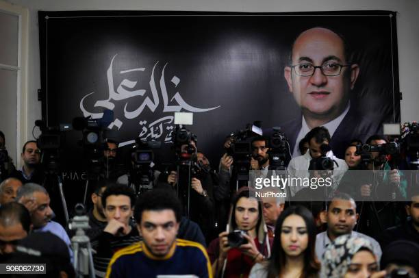 Media attends Khaled Ali's Campaign Press Conference in Cairo Egypt on 17 January 2018