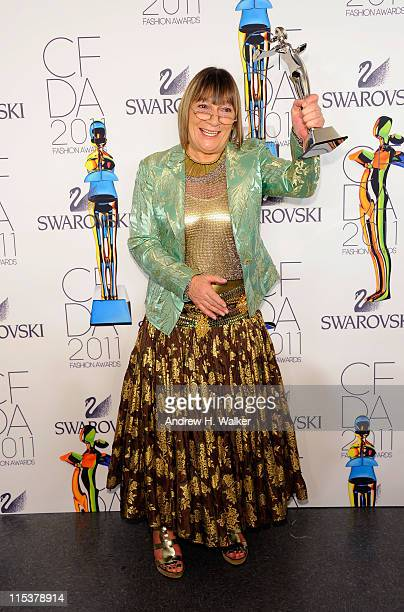 Media Award honoree Hilary Alexander poses backstage at the 2011 CFDA Fashion Awards at Alice Tully Hall, Lincoln Center on June 6, 2011 in New York...