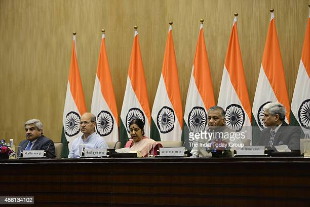 Media Briefing by BJP minister Sushma Swaraj regarding forthcoming world Hindi conference
