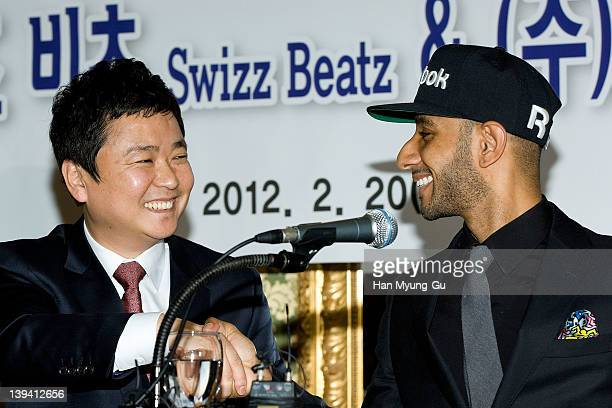 O media CEO Kim JungWoong and leading singer and producer Swizz Beatz from USA attends during a press conference to announce his business alignment...