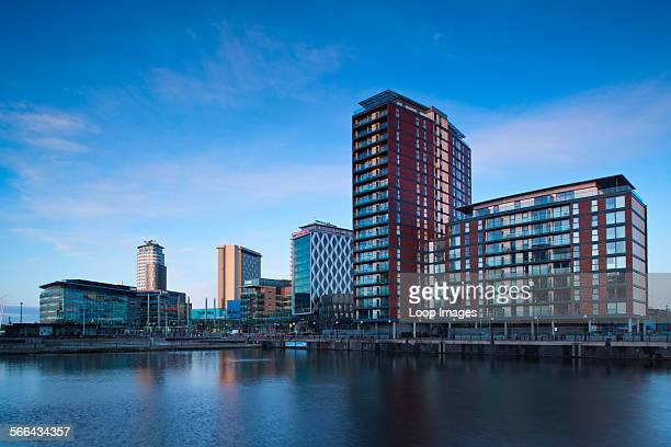 Media City UK complex located on the Salford Quays in the city of Salford near Manchester Old Trafford