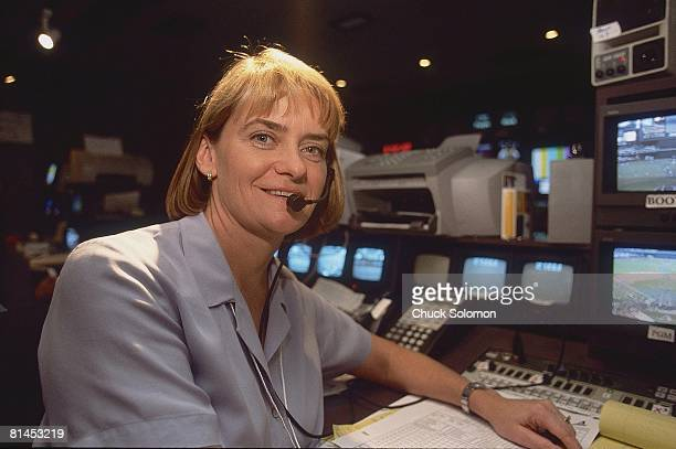 Media Closeup portrait of Fox producer Carol Langley during World Series Game 6 Phoenix AZ 11/3/2001
