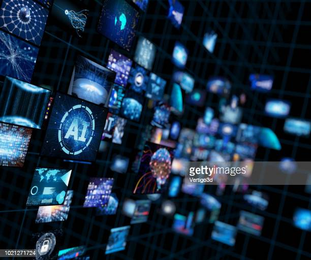media concept video wall with small screens - artificial intelligence stock pictures, royalty-free photos & images