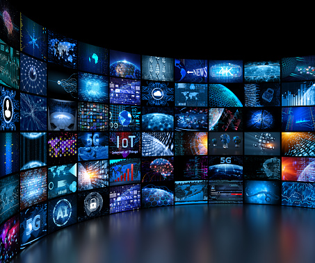 Media concept video wall with small screens 1021271726