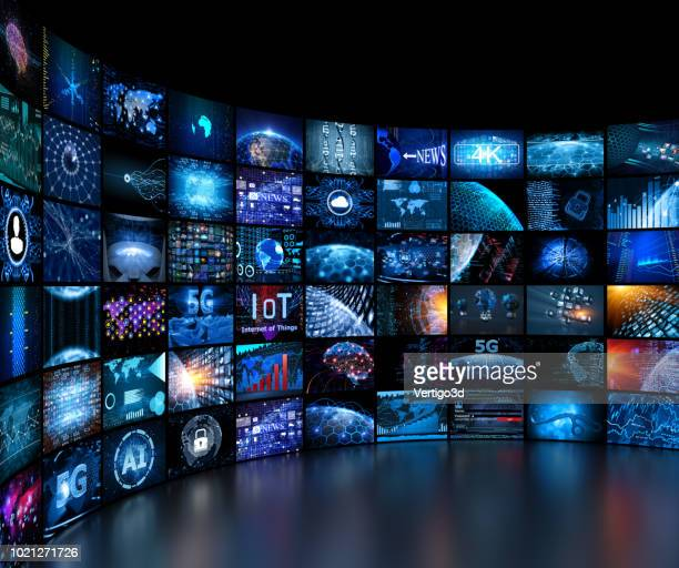 media concept video wall with small screens - arts culture and entertainment stock pictures, royalty-free photos & images