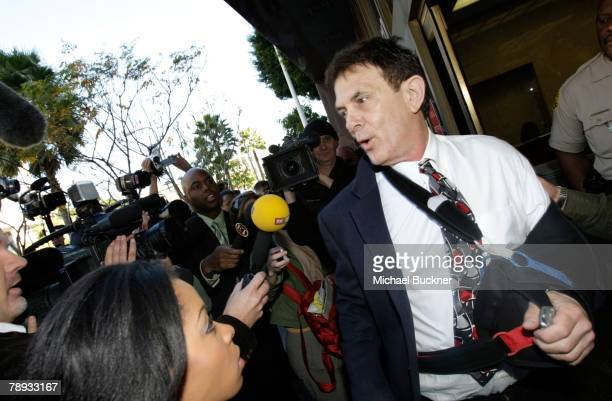 Media coordinator Michael Sands addresses the media outside the Los Angeles County Courthouse on details of the custody hearing for singer Britney...