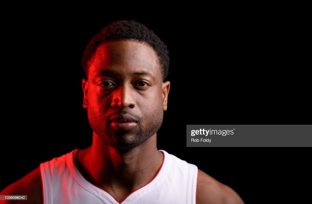 ab425cb25c4 A media day portrait of Dwyane Wade of the Miami Heat on September ...