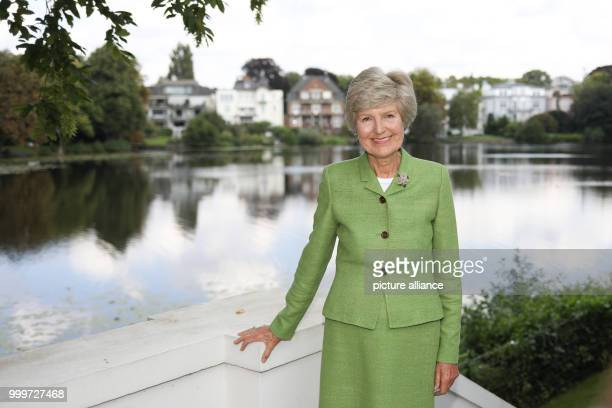 Media entrepreneur Friede Springer participates in a senate breakfast in the guest house of the senate at the Alster river in Hamburg Germany 4...