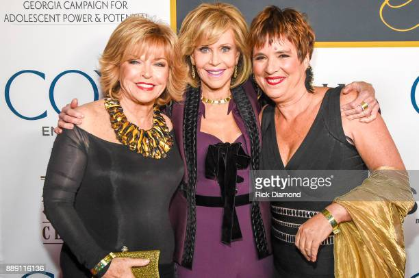 Media Executive Pat Mitchell AcademyAward Winning Actress Jane Fonda and Playwright Eve Ensler attend GCAPP Eight Decades of Jane in celebration of...
