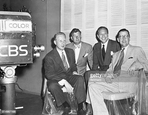 Media executives gather to inaugurate CBS's color television broadcast From left to right are Frank Stanton president of CBS Arthur Godfrey media...