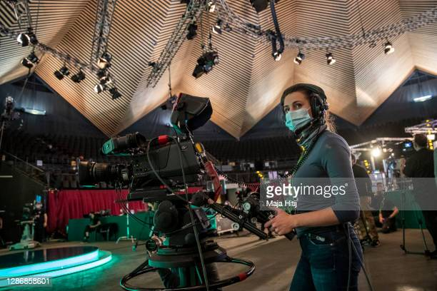 Media films on the second day of a three-day Greens Party federal party congress during the second wave of the coronavirus pandemic on November 21,...