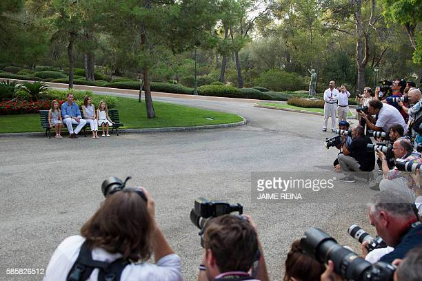 Media gather infront of Spanish King Felipe VI and Queen Letizia and their daughters Spanish crown princess Leonor and princess Sofia as they pose in...
