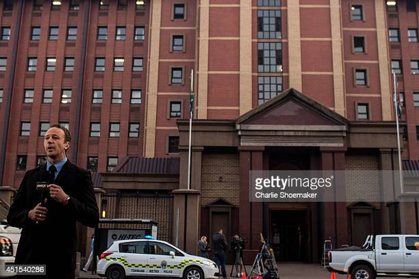 Media gather outside North Gauteng High Court for the continuation of the Oscar Pistorius trial, on July 1, 2014 in Pretoria, South Africa. Oscar...