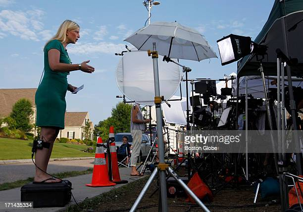Media gather outside of Aaron Hernandez's home in North Attleborough Mass June 24 2013 Hernandez a New England Patriots player has been linked to the...