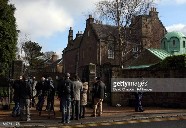 Media gather outside the house Cardinal Keith O'Brien in Edinburgh