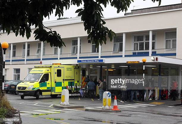 Media gather outside the Royal Cornwall Hospital on August 25, 2010 in Truro, Cornwall, England. British Prime Minister David Cameron's wife Samantha...