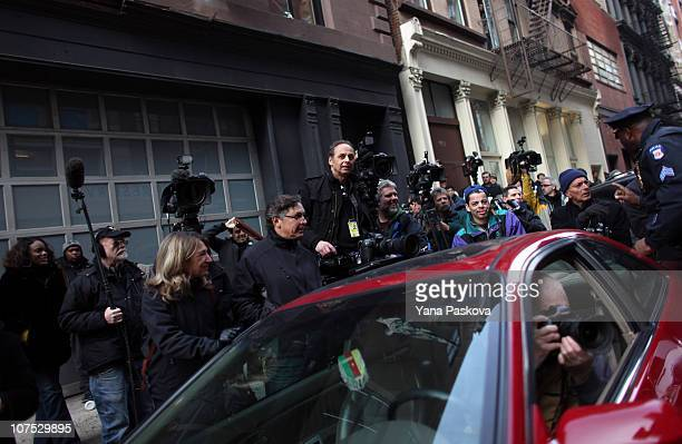 Media gathers at the scene on 158 Mercer St where Mark Madoff son of Bernard Madoff was found dead of an apparent suicide by hanging December 11 2010...