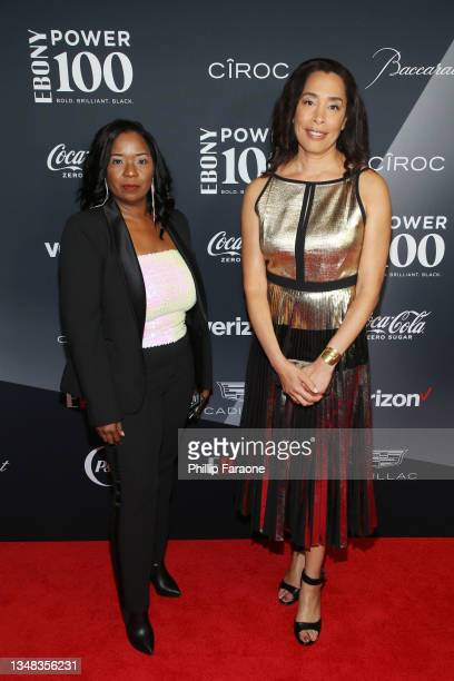 Media Head of Media Partnerships Denise Faulkner Sims and EBONY Media COO Keija Minor attend the 2021 Ebony Power 100 Presented By Verizon at The...