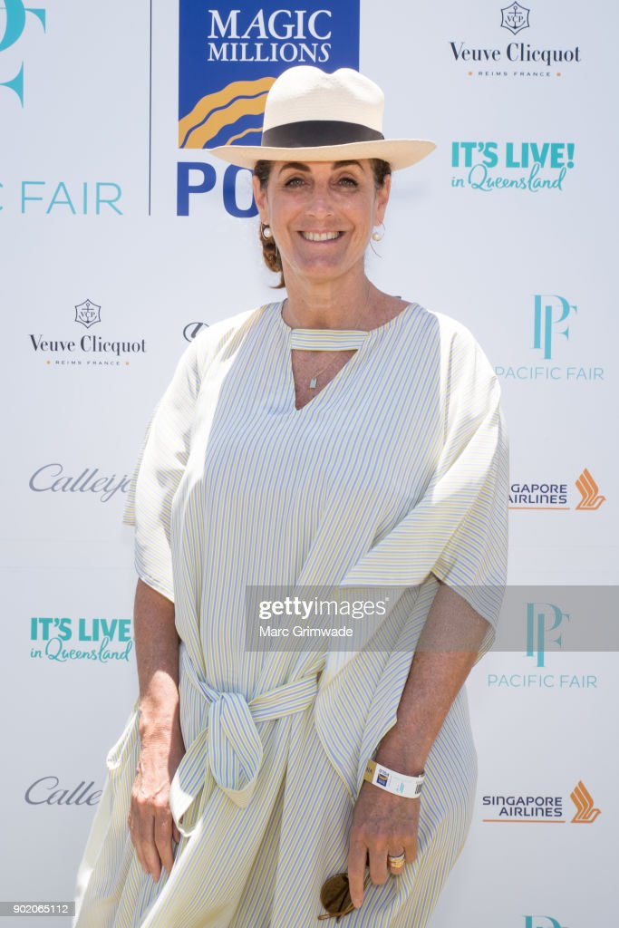 Media identity Jackie Frank attends Magic Millions Polo on January 7, 2018 in Gold Coast, Australia.