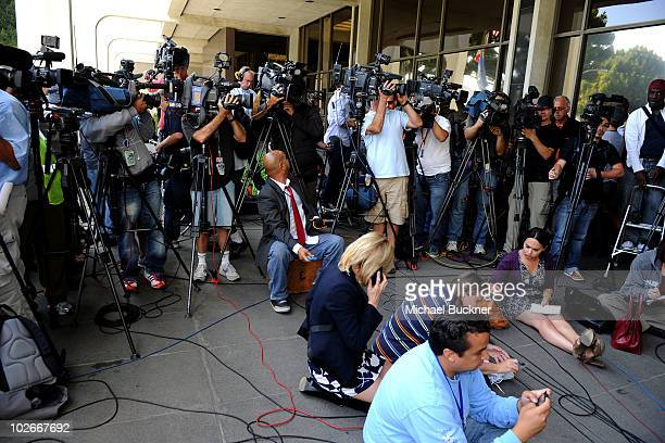 Media in front of Beverly Hills Courthouse during Lindsay Lohan probation revocation hearing on July 6 2010 in Los Angeles California Lindsay Lohan...