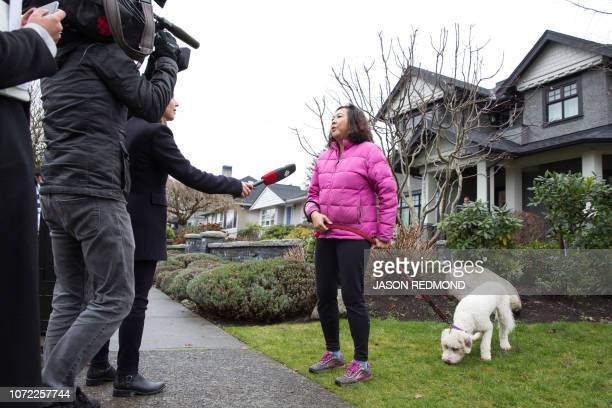 Media interview Dunbar resident Agnes Kindrachuk as she walks her dog past the residence of Huawei Technologies Chief Financial Officer Meng Wanzhou...
