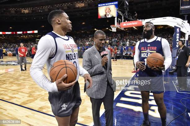 Media interviews Russell Westbrook and James Harden of the Western Conference during the 2017 NBA AllStar Practice as a part of 2017 AllStar Weekend...