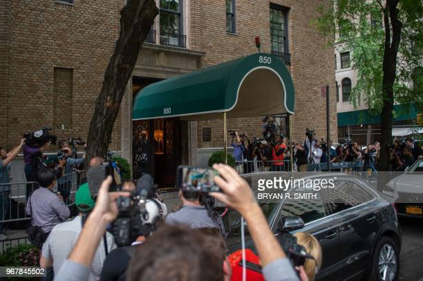 Media is gathered outside the apartment of fashion designer Kate Spade after she was found dead at age 55 on June 5 2018 in New York Spade one of the...
