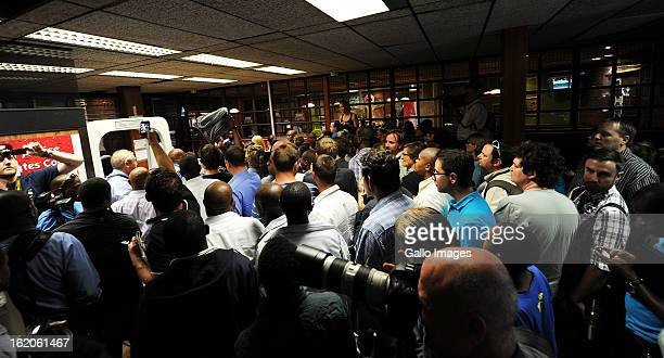 Media lining up to enter the court building at the Pretoria Magistrate Court on February 19, 2013 in Pretoria, South Africa. Oscar Pistorius, who has...