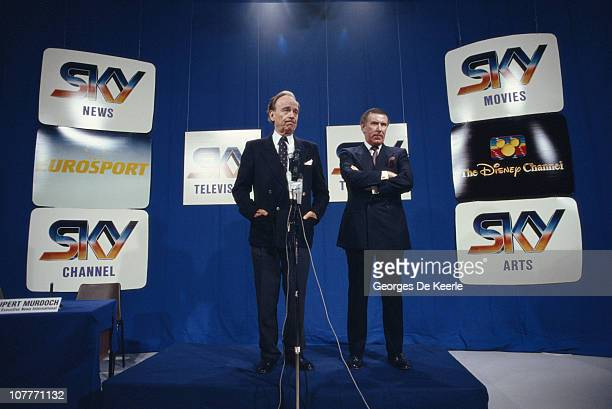 Media magnate Rupert Murdoch and broadcaster Andrew Neil at the launch of Sky TV in London 5th February 1989