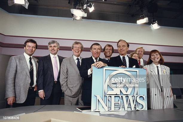 Media magnate Rupert Murdoch and broadcaster Andrew Neil at the launch of Sky TV in London 5th February 1989 From left to right Tony Blackburn Peter...