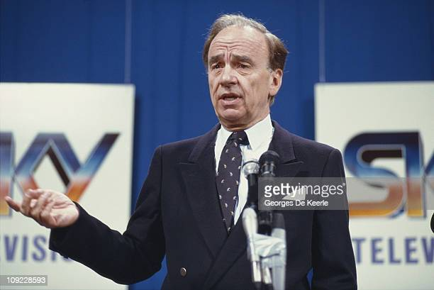 Media magnate Rupert Murdoch at the launch of Sky TV in London, 5th February 1989.
