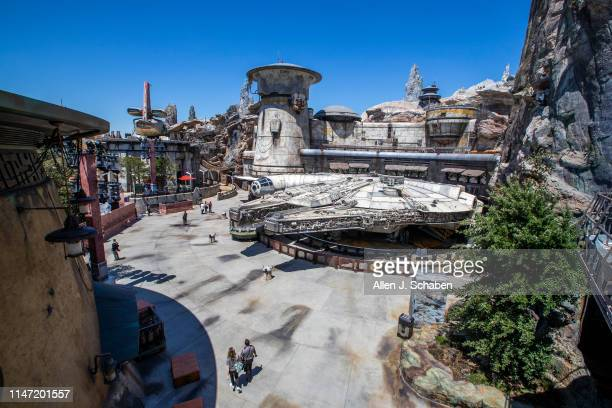 """Media members get a preview of the Millennium Falcon: Smugglers Run where visitors can operate """"the fastest hunk of junk in the galaxy"""" on a daring..."""