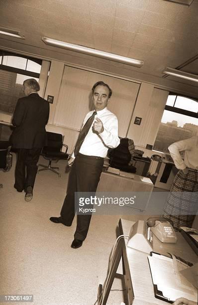 Media mogul Rupert Murdoch in a London newspaper office, 1980.