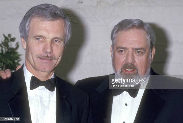 Media mogul Ted Turner and actor Raymond Burr attend the Eighth Annual National CableACE Awards on January 20 1987 at Wiltern Theatre in Los Angeles...