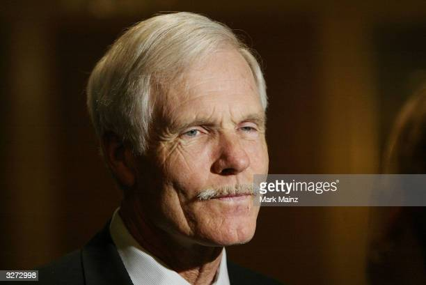Media Mogul Ted Turner attends the 'Hollywood Radio and Television Society's Newsmakers Luncheon' at the Regent Beverly Wilshire April 8 2004 in Los...