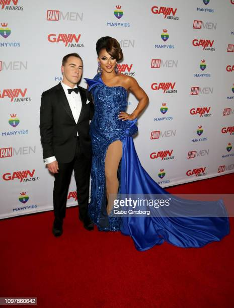 Media Network CEO Tony Rios and television personality and host Shangela Laquifa Wadley attend the 2019 GayVN Awards show at The Joint inside the...