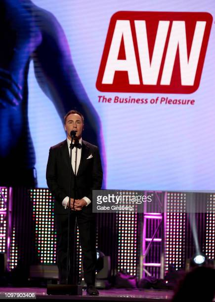 Media Network CEO Tony Rios announces Keith Miller as an inductee to the GayVN Hall of Fame during the 2019 GayVN Awards show at The Joint inside the...