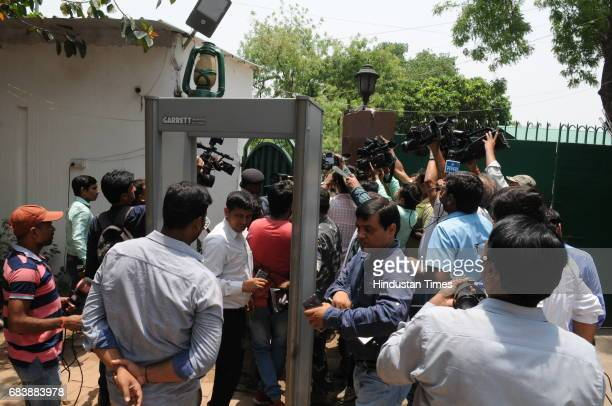 Media outside RJD Chief Lalu Prasad's residence during income tax raid on May 16 2017 in Patna India The Income Tax Department carried out raids at...