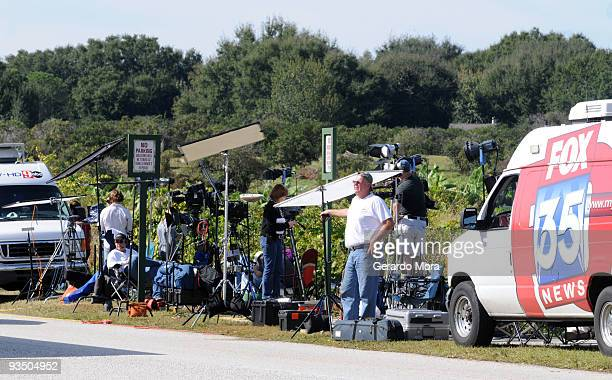Media park outside of the Isleworth community which is home to Tiger Woods on November 30 2009 in Windermere Florida Tiger Woods has not spoken with...
