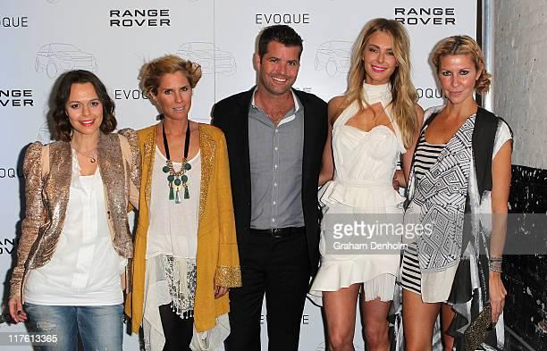Media personailty Mia Freedman designer SarahJane Clarke chef Peter Evans model Jennifer Hawkins and designer Heidi Middleton pose as they attend the...