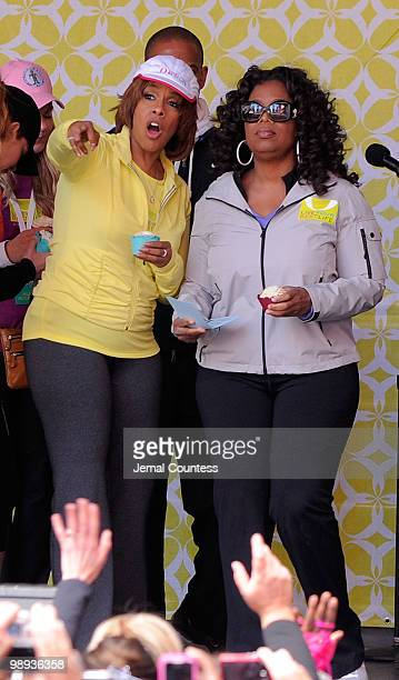 Media personalities Gayle King and Oprah Winfrey onstage at the completion of the Live Your Best Life Walk to celebrate O The Oprah Magazine's 10th...