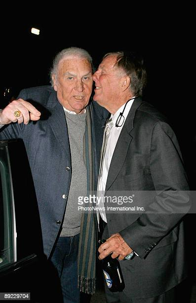 Media personalities John Laws and John Singleton are seen leaving Catalina Restaurant on July 23 2009 in Sydney Australia The pair had been lunching...