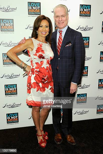 Media personalities Judge Jeanine Pirro and Chief Creative Officer for Liz Claiborne Tim Gunn pose for a photo at the Love is Not Abuse iPhone app...