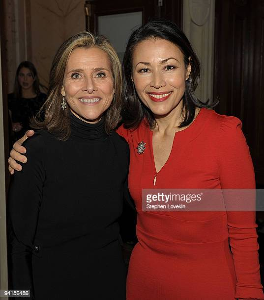 Media personalities Meredith Viera and Ann Curry attend the launch of 'Mediaite' at The Edwardian Room at The Plaza on December 8 2009 in New York...