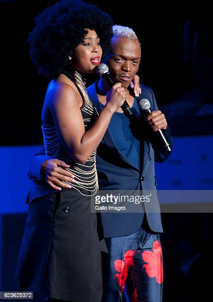 Media personalities Minnie Dlamini and Somizi Mhlongo stage during the Essence Festival All Star music concert at the Moses Mabhida Stadium on...