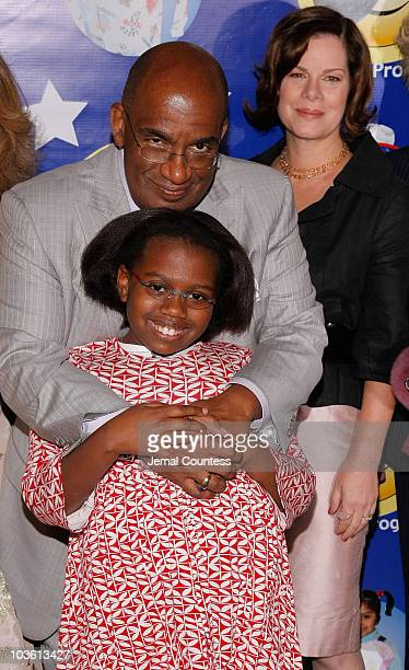 Media personality Al Roker with daughter Leila Roker and Actress Marcia Gay Harden at the 6th Annual Pajama Program Awards Luncheon at the Pierre...