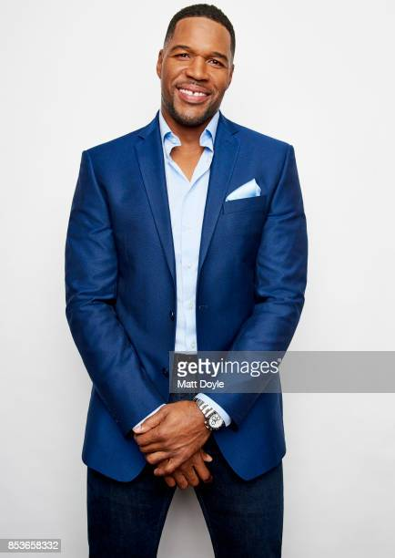 Media personality and former American football defensive end Michael Strahan poses for a portraits at the Tribeca TV festival at Cinepolis Chelsea on...