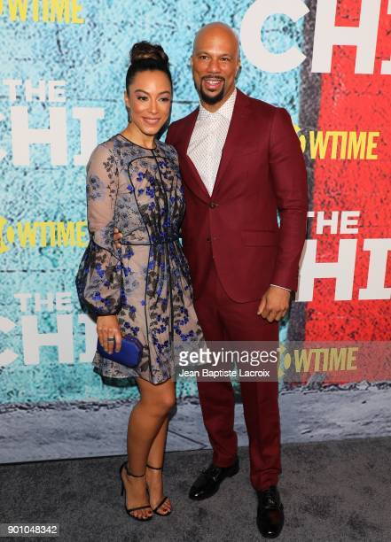 Media Personality Angela Rye and rapper Common attends the premiere of Showtime's 'The Chi' on January 03 2018 in Los Angeles California